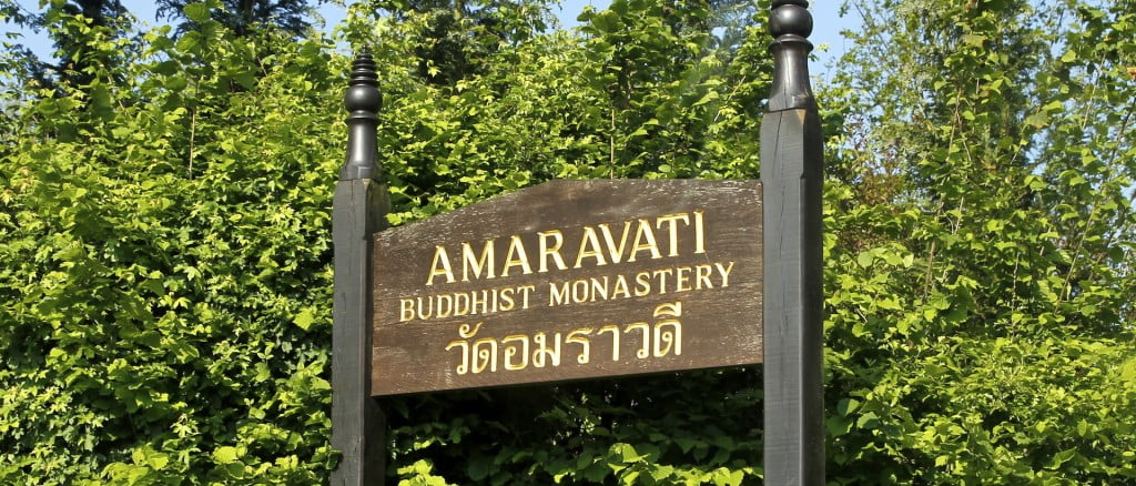 Amaravati Buddhist Monastery sign