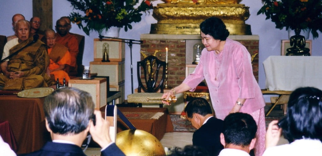 A purpose-built temple was officially opened on 4 July 1999 by Princess Galyani Vadhana, sister of the King of Thailand. width=
