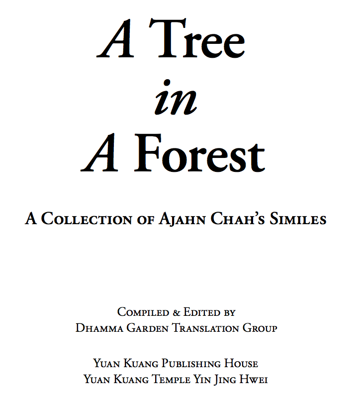 A Tree In A Forest A Collection Of Ajahn Chah S Similes