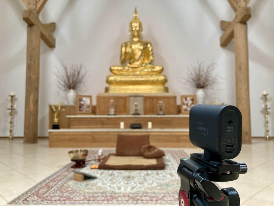 Temple with Mevo camera